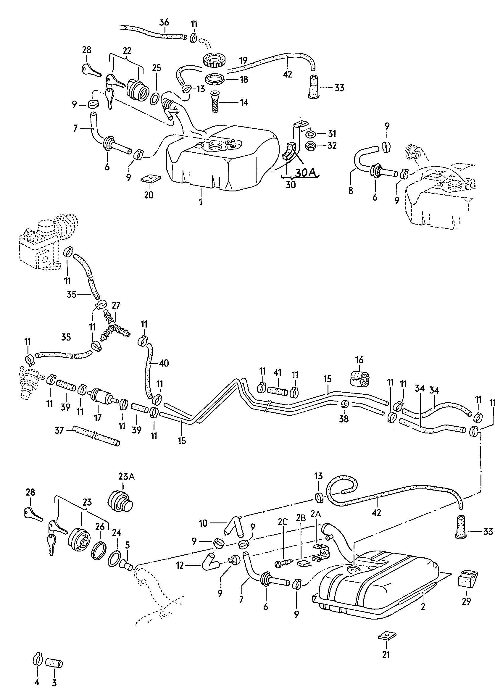Volkswagen Dasher Fuel Tank Fuel Line