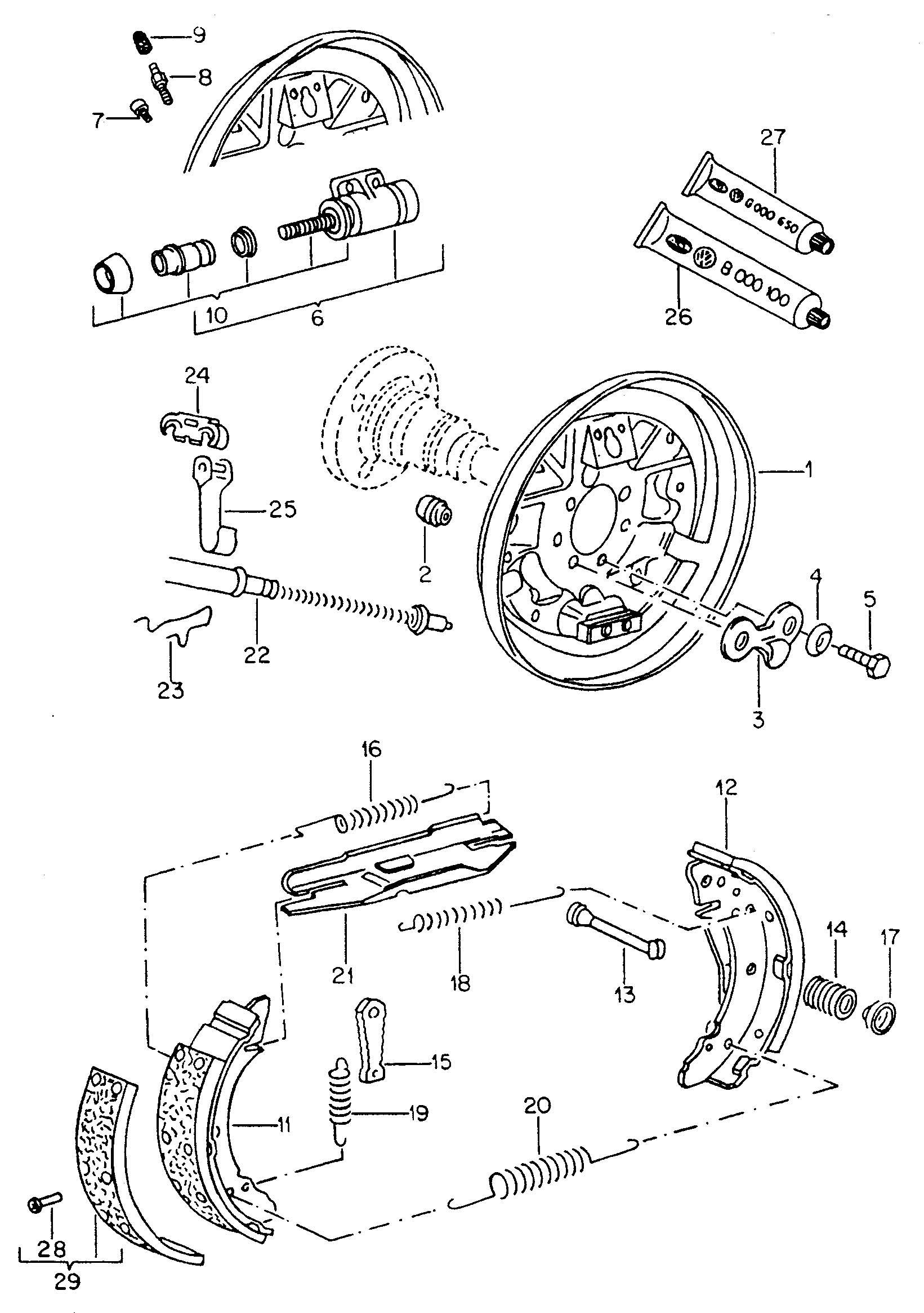 Volkswagen Golf Drum Brakes Back Plate Wheel Brake