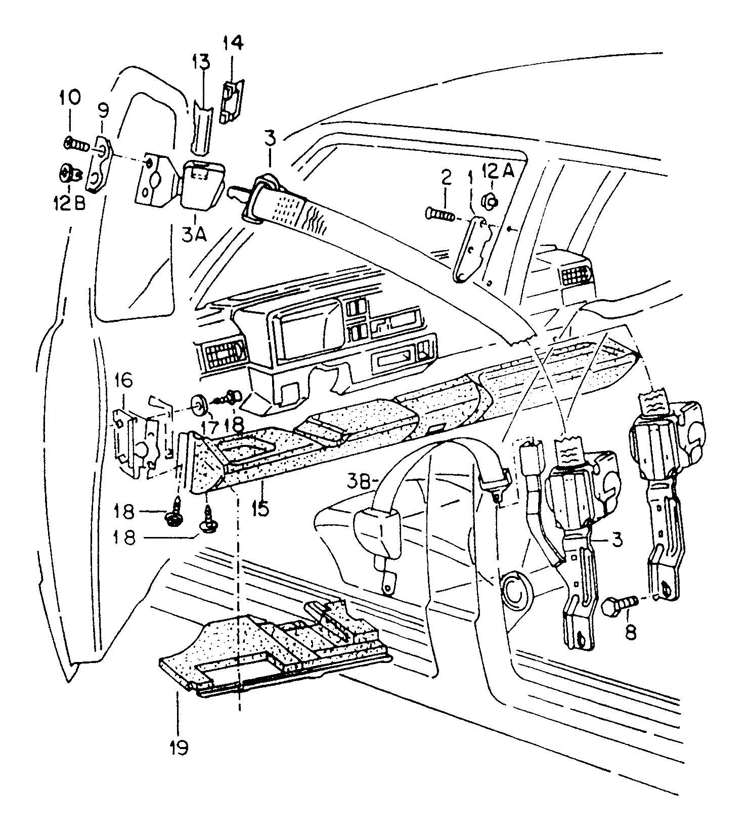 2 Point Seat Belt Knee Bar Front