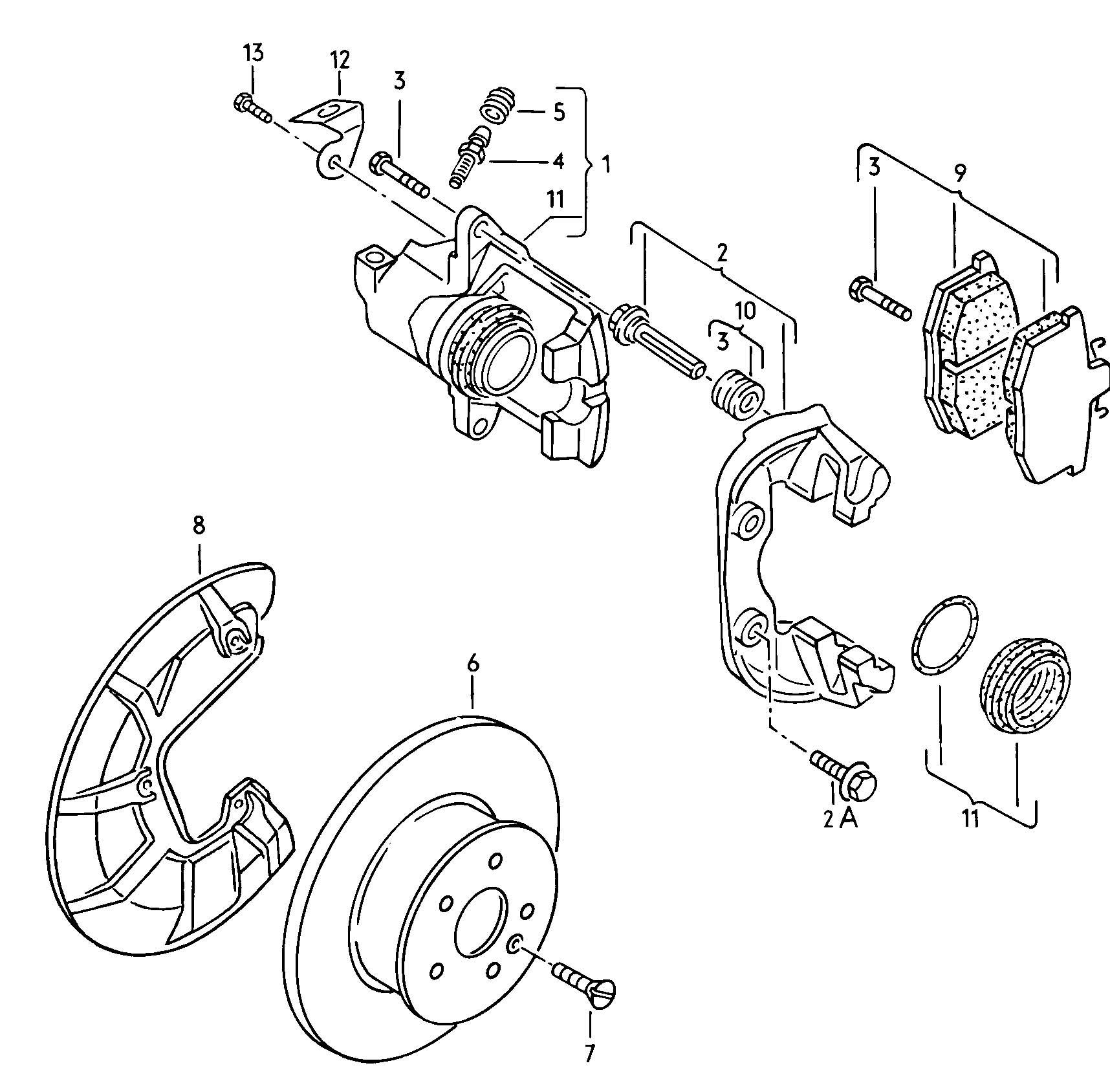 volkswagen vanagon syncro disc brake front brake caliper brake caliper  caliper carrier with pad