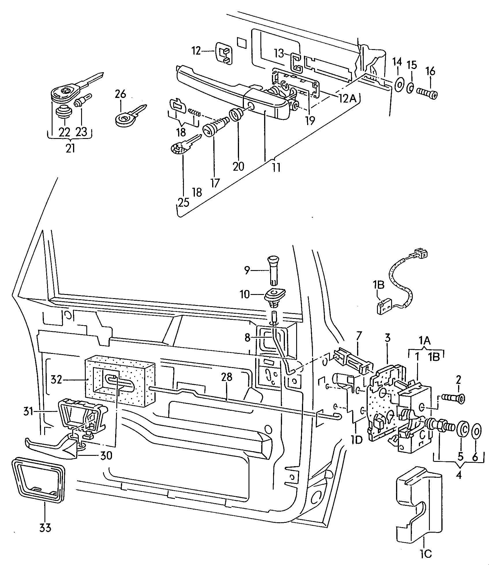 Volkswagen Corrado Door Latch Interior Release Door Handle