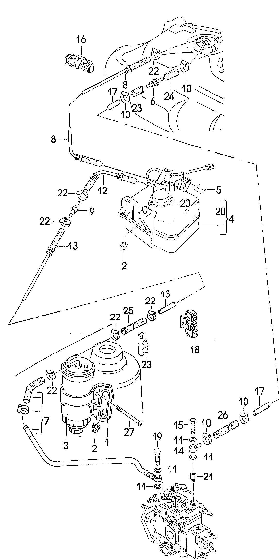 Volkswagen Jetta Water Trap Fuel Filter Fuel Line
