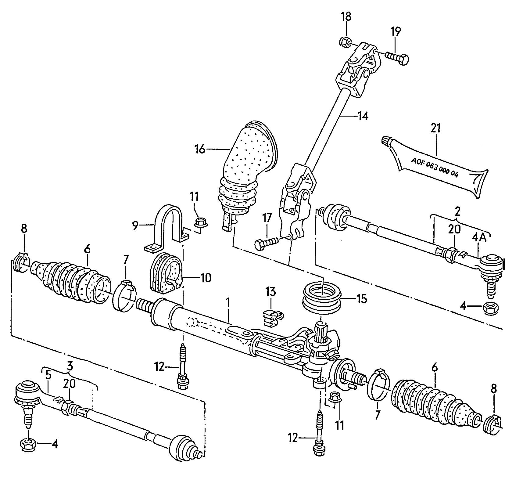Volkswagen Vw Corrado Steering Gear Tie Rod Drive Shaft