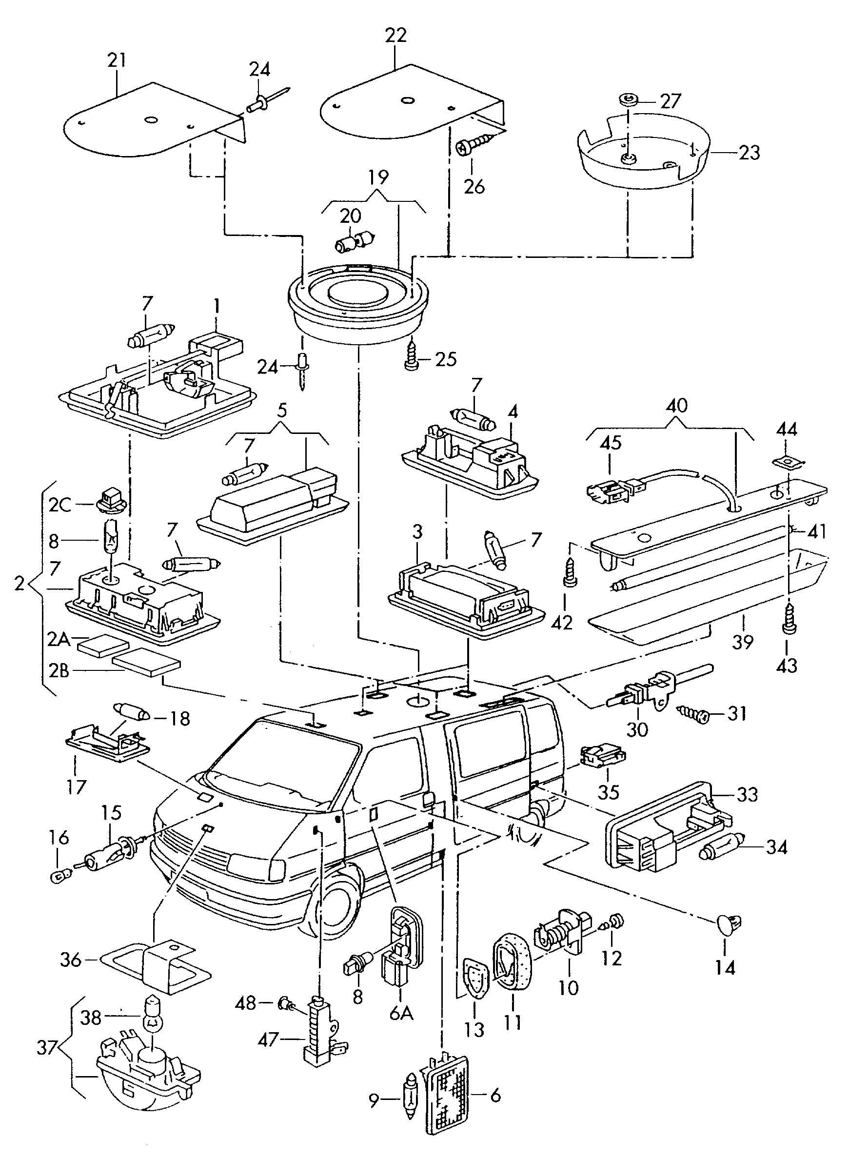 Volkswagen Eurovan Load Compartment Light Luggage