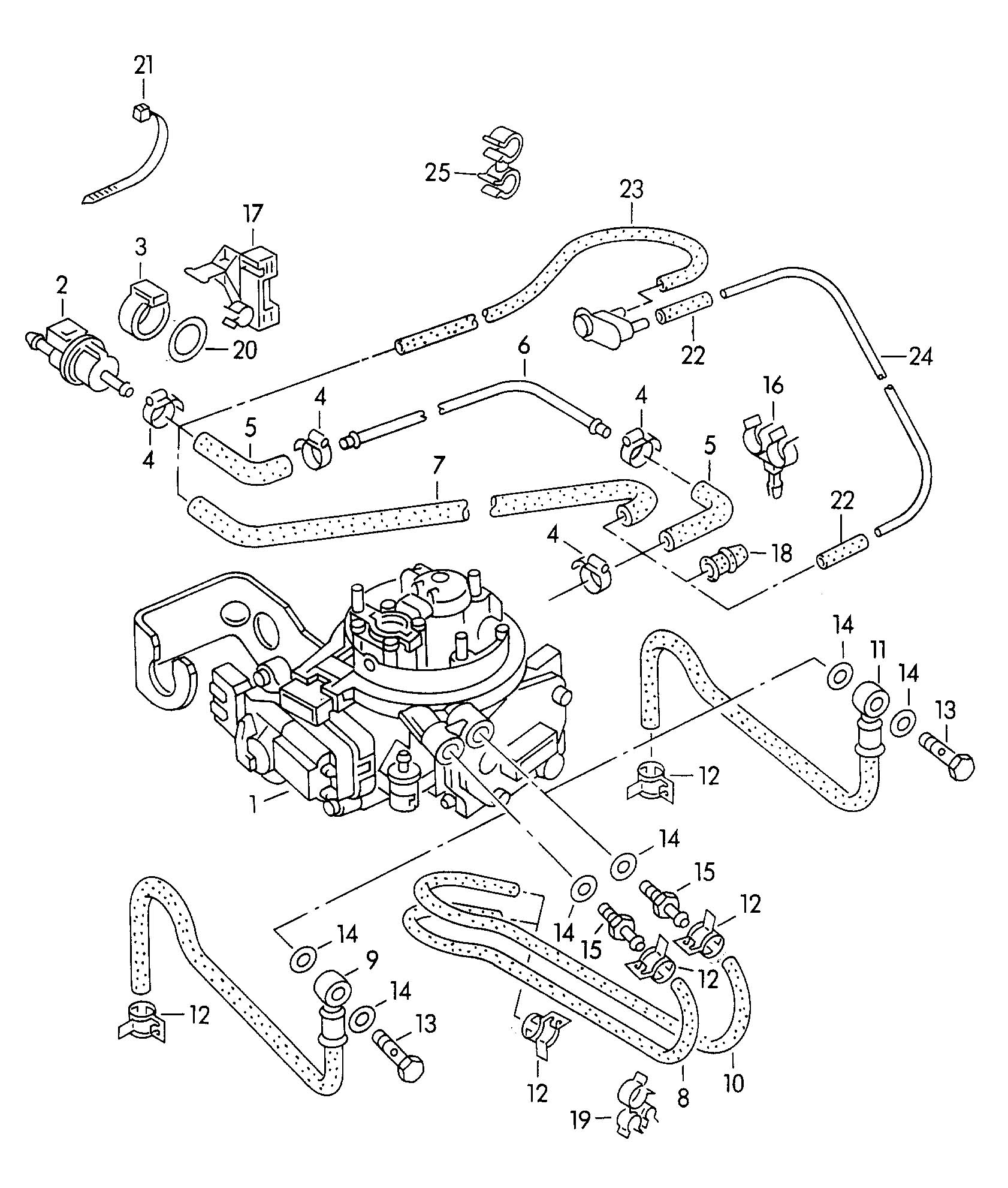 Volkswagen Golf Vacuum System Fuel Line 1 8ltr