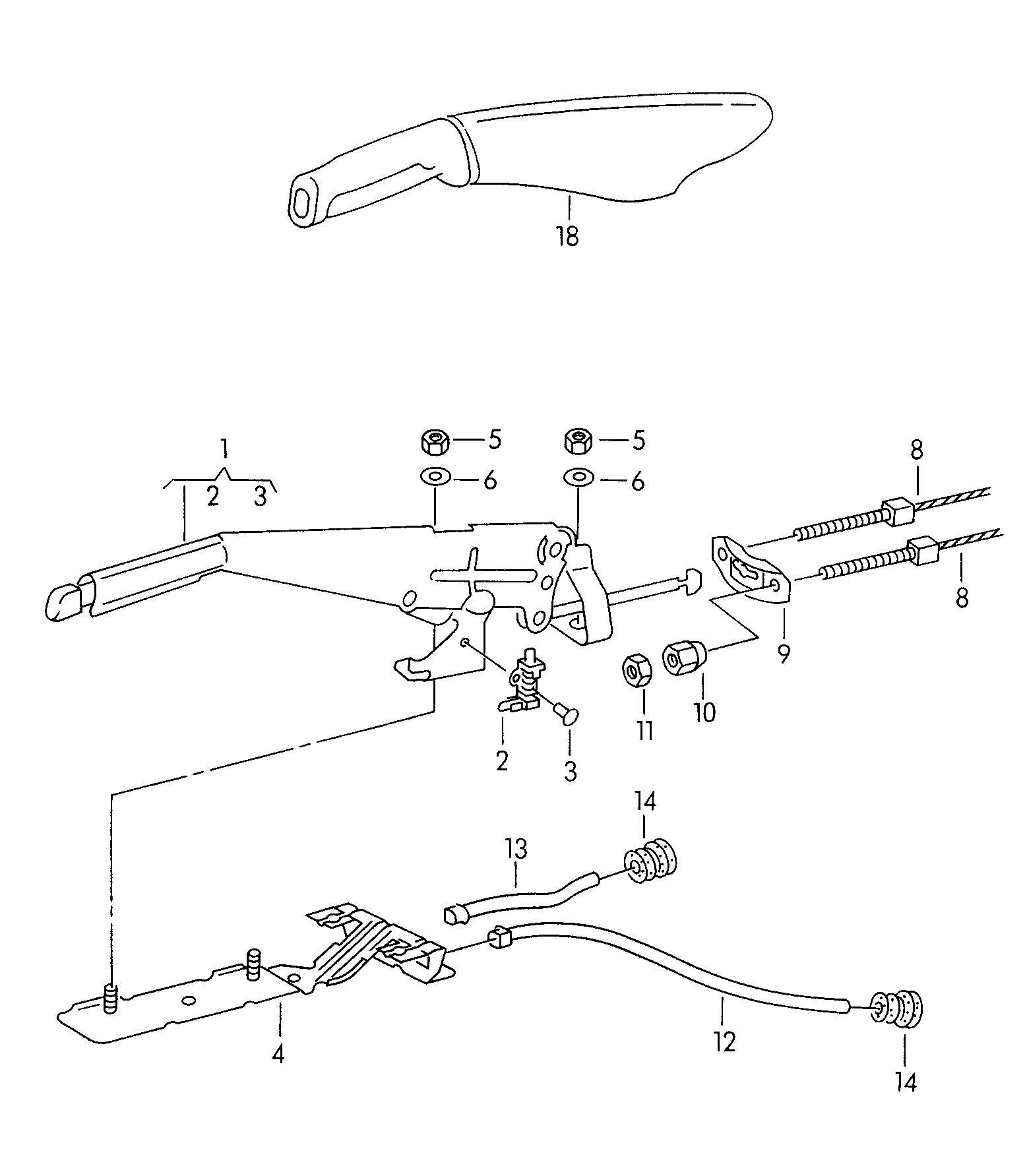 Volkswagen Cabrio Cabriolet Hand Brake Lever