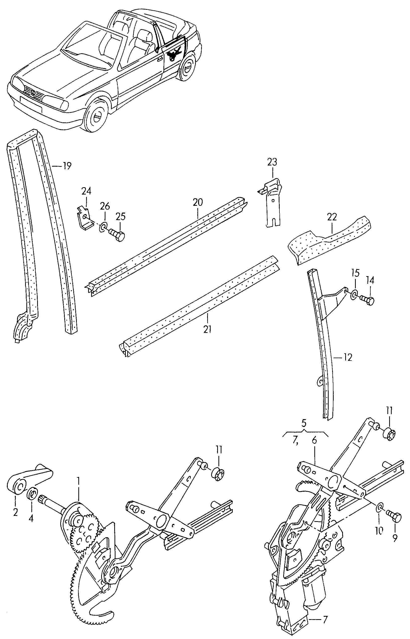 Volkswagen Cabrio Cabriolet Window Regulator Without Motor