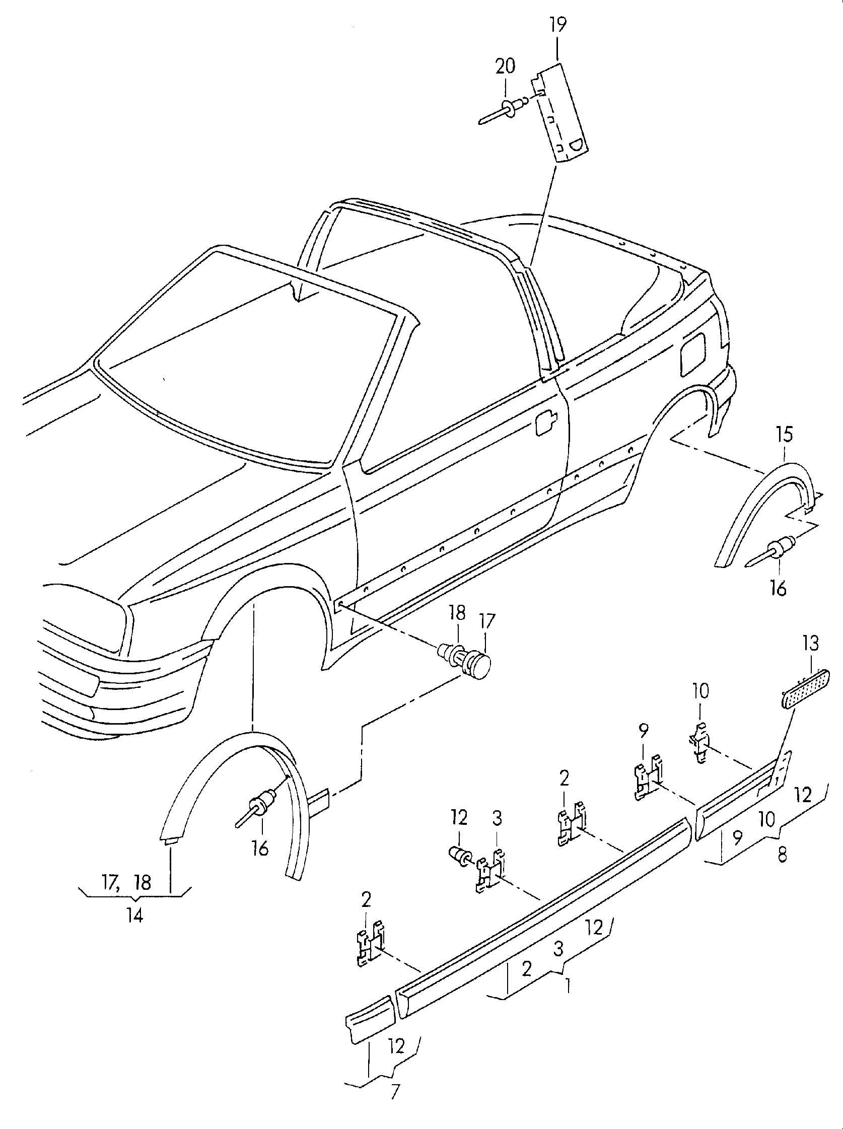 Volkswagen Cabrio Cabriolet Moldings Rubbing Strips Trim