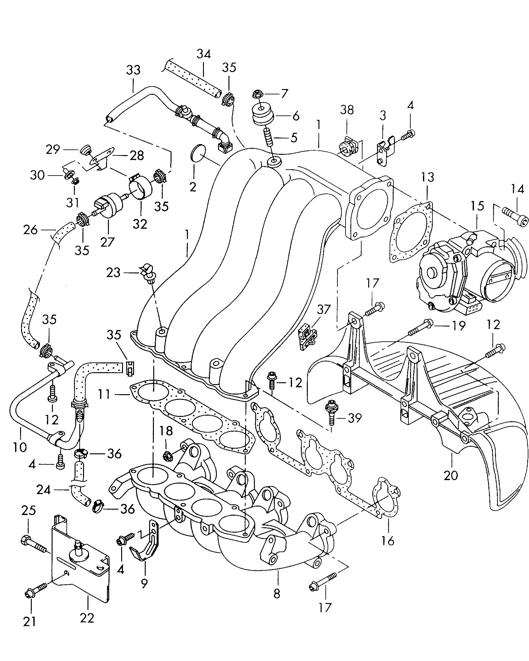 Volkswagen New Beetle 3 8l 6 Cylinder Connecting Pipe Awv