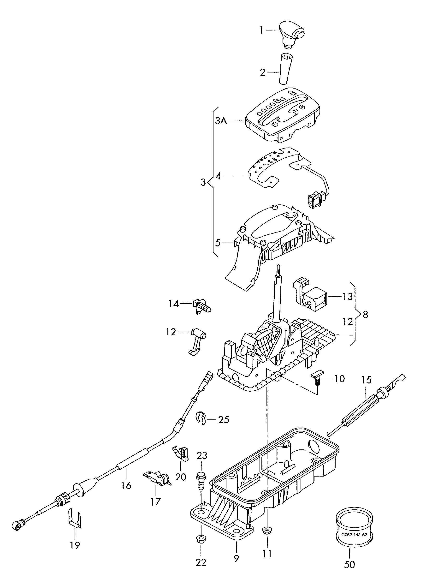 Volkswagen Jetta Shift Mechanism Assembly Assembly Assy