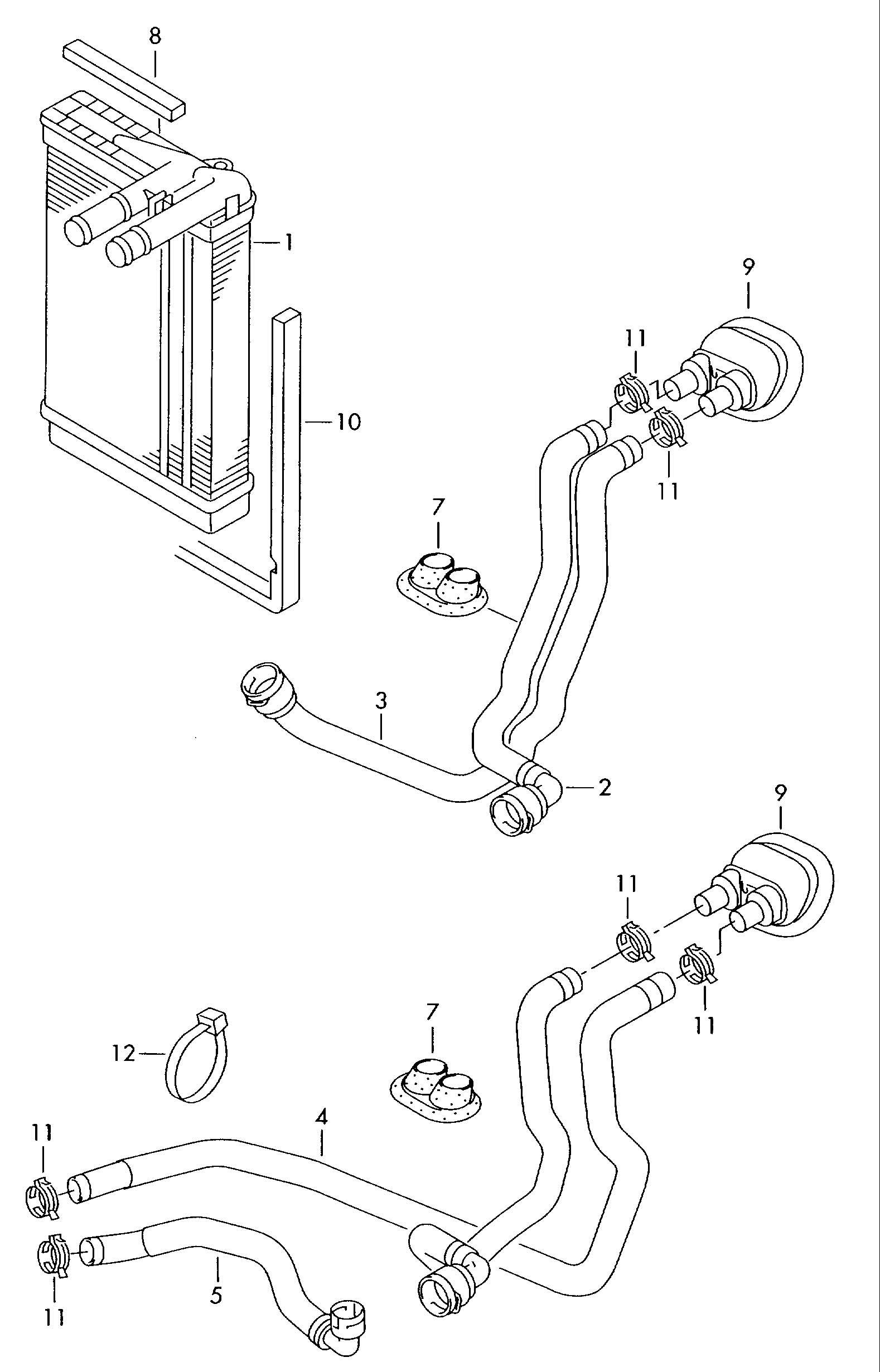 Volkswagen Passat Water Hose Heat Exchanger Gt Coolant P