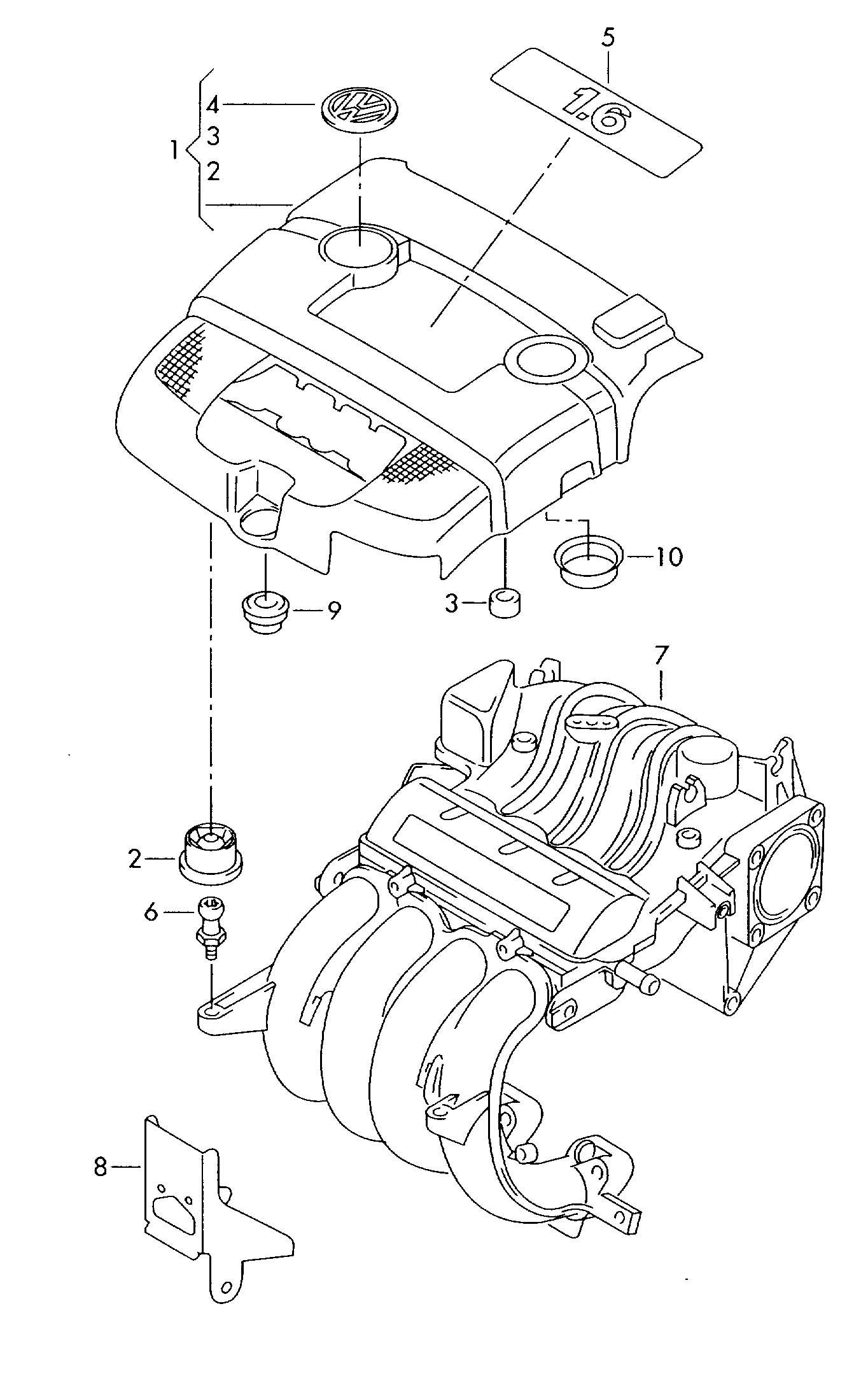 Volkswagen Golf Cover For Intake Manifold 1 6ltr