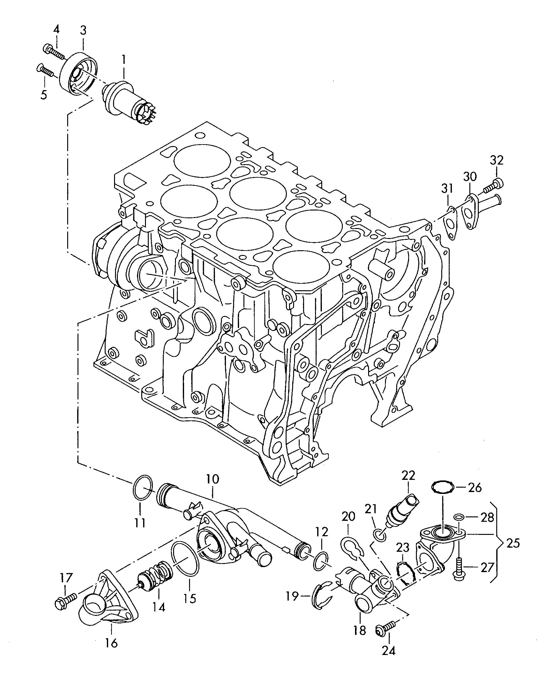 Volkswagen Vw Passat Water Pump Thermostat 3 6ltr