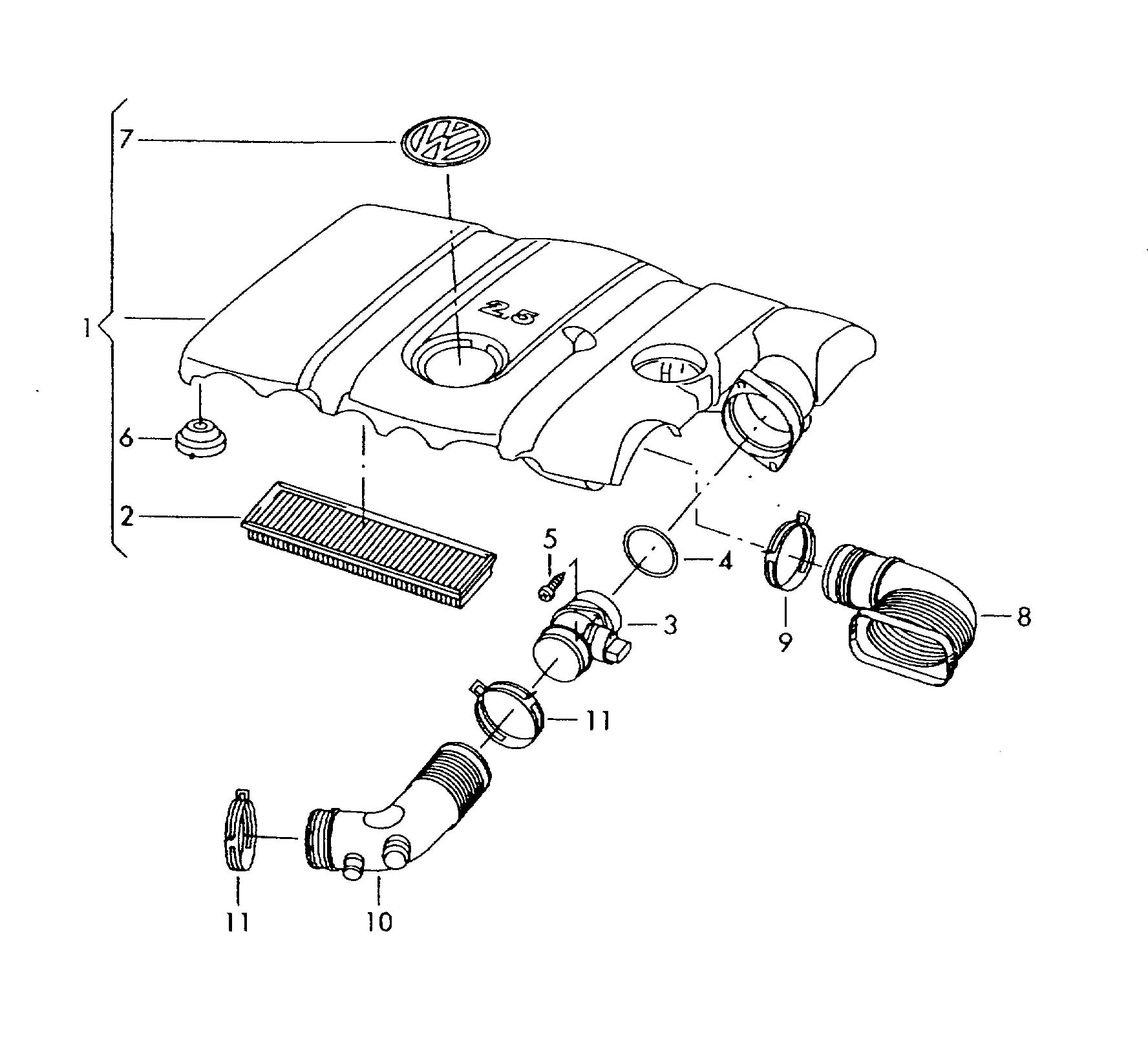 Volkswagen Air Cleaner With Connecting Parts 2 5ltr