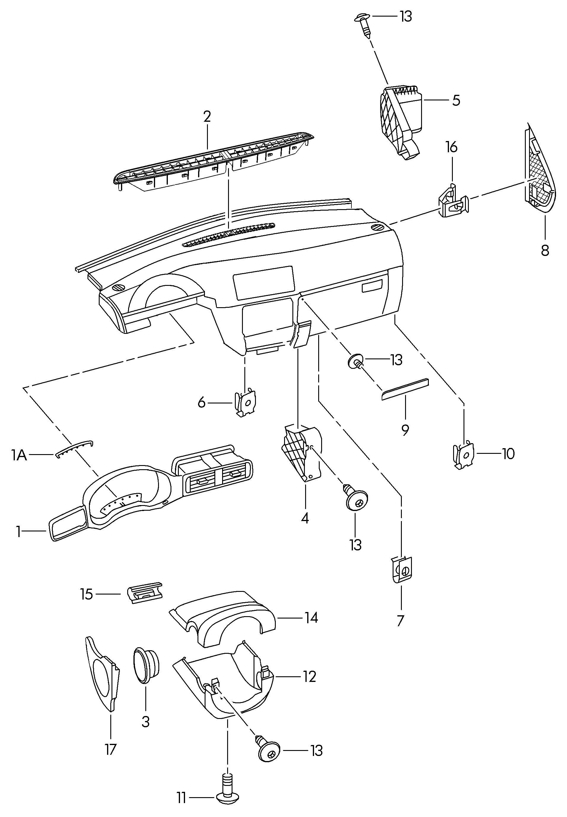 Volkswagen Jetta 1 8l Ke Jetronic Dashboard Installation Parts Upper