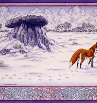 Irish, Ireland, Myth, Legend, Irish Myth, Irish Mythology, Celtic, Celtic art, Celtic Mythology, Jim FitzPatrick, Art, Irish Art, Dolmen, fox, winter, snow