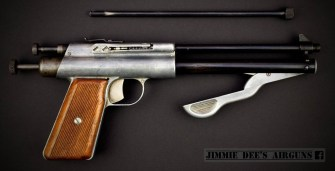 The Apache Fireball air pistol (1947-1949) dual calibre repeater model.