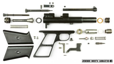 The Challenger Arms Plainsman CO₂ pistol disassembled.