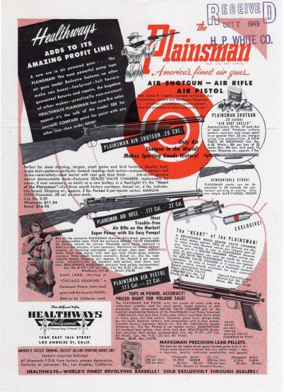 October 1949 Healthways advertisement for the Plainsman airgun range.