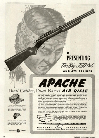Apache air rifle advertisement with ammunition compartment in the shoulder stock. [3]