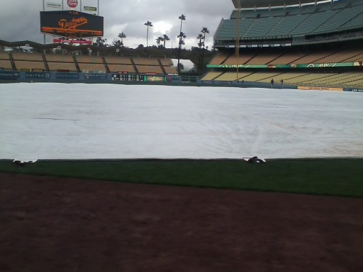Tarp on Field at Dodger Stadium