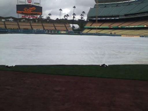 Tarp on Field at Dodger Stadium