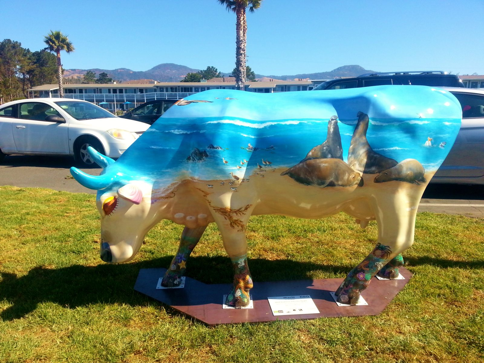 Blue Seals Cow Sculpture