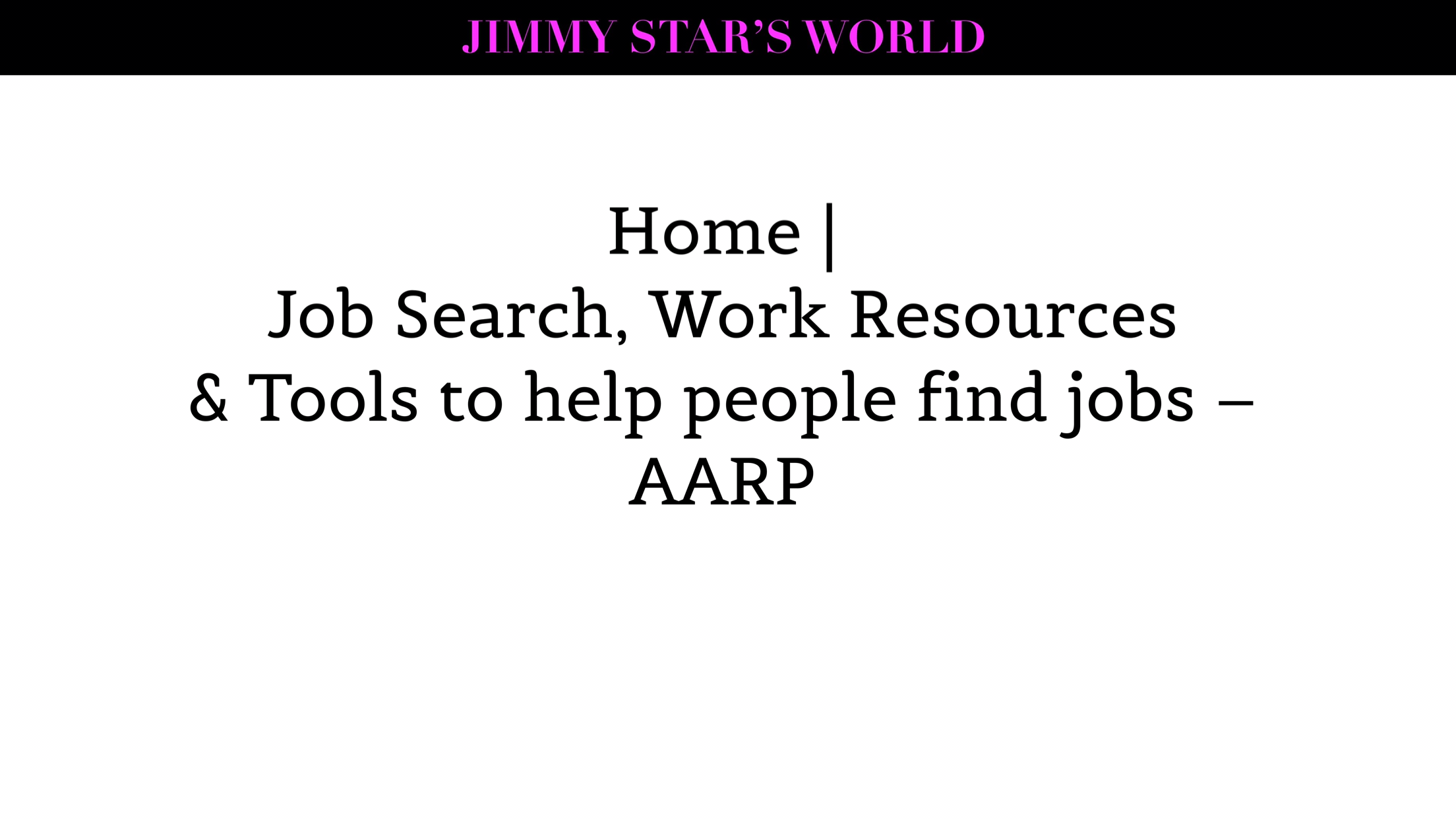 Home | Job Search, Work Resources and Tools to help people find jobs –via AARP