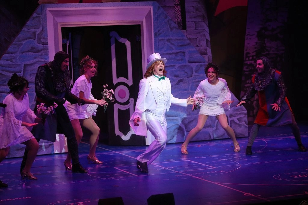 Nicole Eras, Adam Pelligrine, Jessica Azenberg, Jim Poulos, Shannon Mullen, Frankie Paparone - Spamalot at Geva Theatre Center, 2015 - Director: Melissa Rain Anderson, Scenic Design: James Morgan, Costume Design: Susan Branch Towne, Lighting Design: Brian J. Lilienthal, Photos: Ken Huth