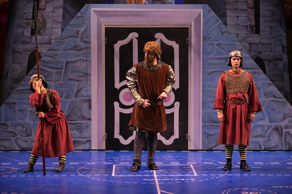 Jen Cody, Brandon Andrus, Jim Poulos - Spamalot at Geva Theatre Center, 2015 - Director: Melissa Rain Anderson, Scenic Design: James Morgan, Costume Design: Susan Branch Towne, Lighting Design: Brian J. Lilienthal, Photos: Ken Huth