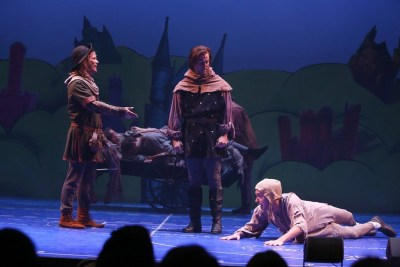Jim Poulos, Mike DiSalvo, Jacob Hoffman - Spamalot at Geva Theatre Center, 2015 - Director: Melissa Rain Anderson, Scenic Design: James Morgan, Costume Design: Susan Branch Towne, Lighting Design: Brian J. Lilienthal, Photos: Ken Huth
