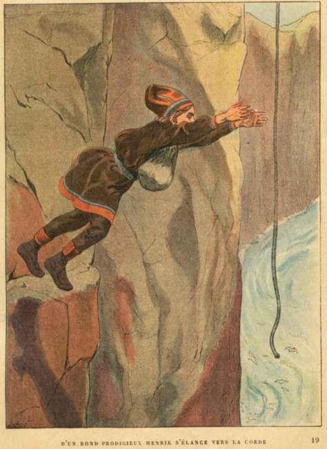D'un bond prodigieux Henrik s'élance vers la corde