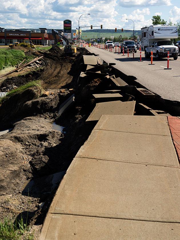 Damage on the Dawson Creek Broidge.