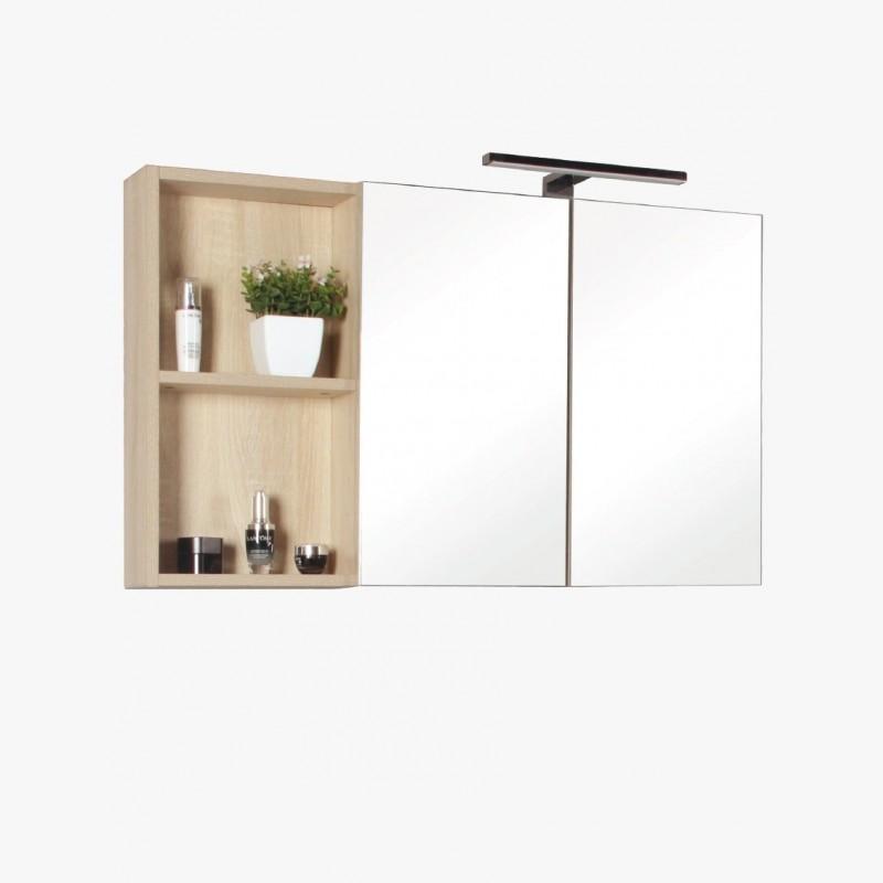 Aquazur Meuble Salle De Bain Haut Double Miroir Et Rangement Avec Led 90cm