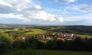 Výhled z poutního kostela Pilgramsberg na cestě do Santiaga de Compostela