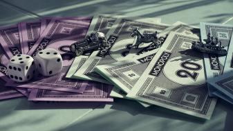 Monopoly, banka, hra, bankovka, kostky, panáčci