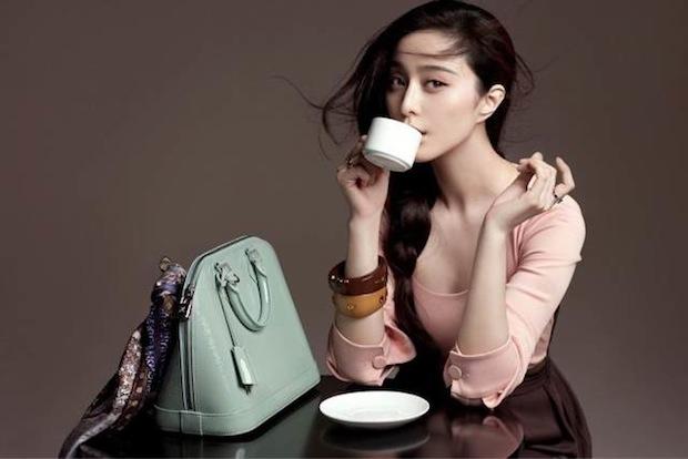 A Chinese ad for a logo-free version of Louis Vuitton's Alma bag featuring actress Fan Bingbing. (Louis Vuitton)