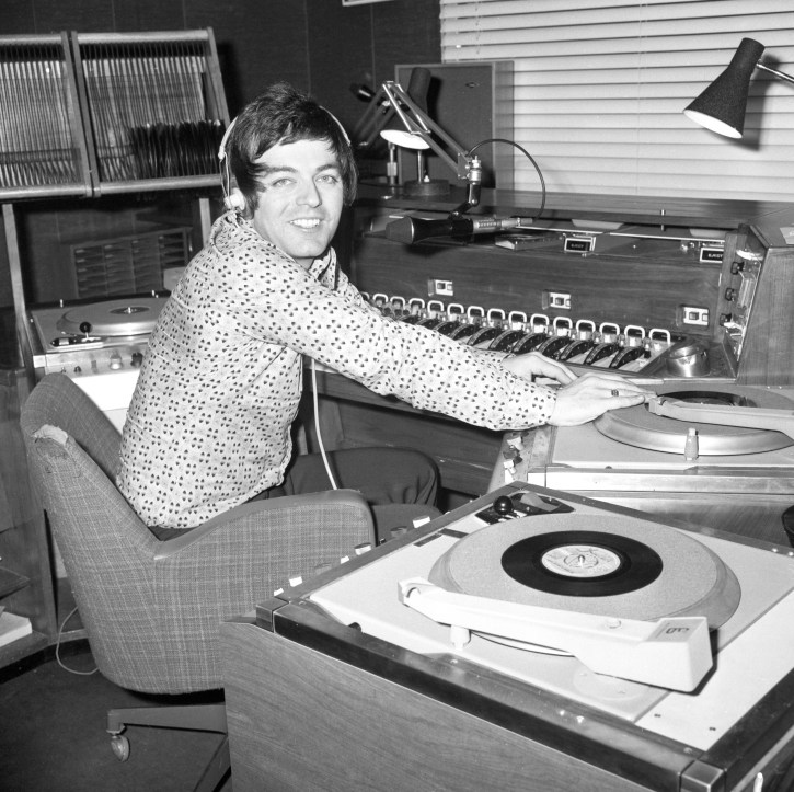 DJ Tony Blackburn, who is presenting his Radio One programme a few hours before his wedding to actress Tessa Wyatt.