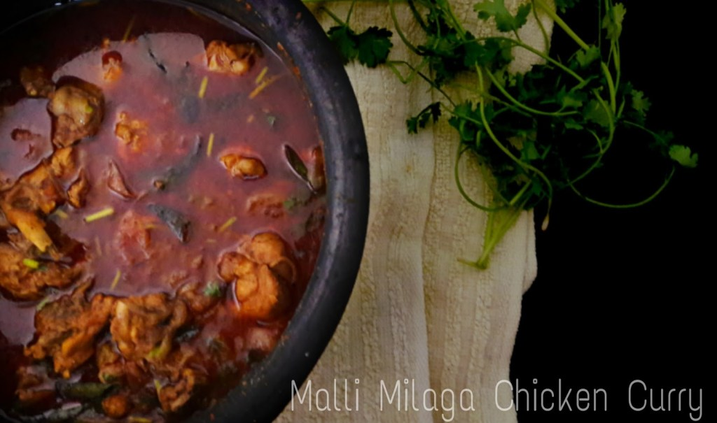 Chicken malli kuzhambu ~ Malli Milagai Chicken Curry