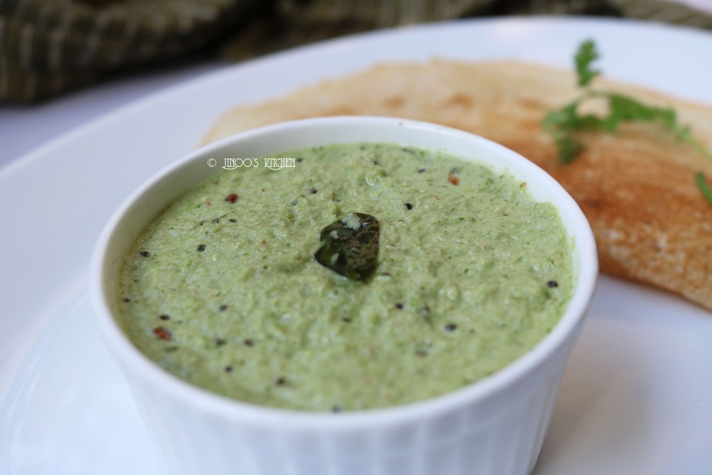 coriander coconut chutney recipe for dosa/idli without frying