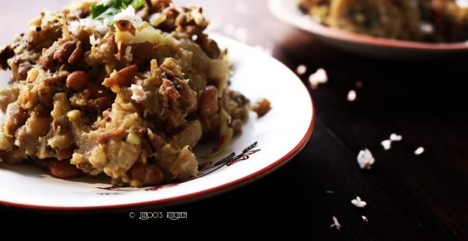 Banana stem and Cow peas Curry   Vazhapindi vanpayar mezhukkupuratti