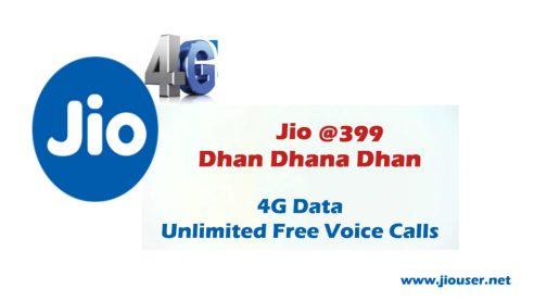 Jio Dhan dhana dhan Recharge 399 plan deatails