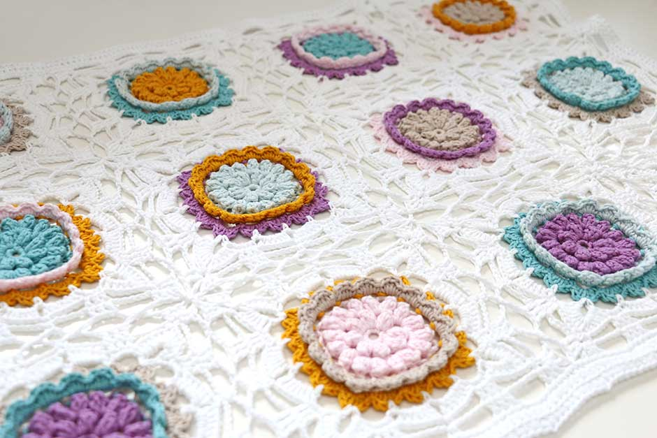 Popcorn granny squares join haken Jip by Jan