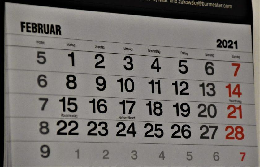 自力整体カレンダー2月