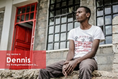 """""""My name is Dennis. I was born in the year 1996 into a family of five. I was raised by a single mum who is physically disabled. Although we lived in the slums, I stayed out of trouble and finished high school last year. My #JitegemeeDream is to one day help my mum build a good house and my siblings achieve their dreams."""""""