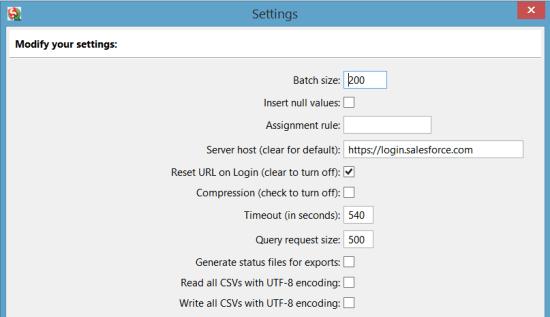 Salesforce Dataloader Settings