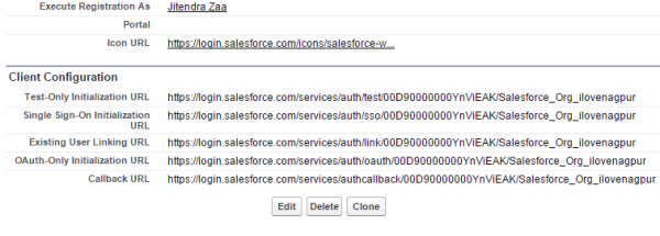 Salesforce Authentication Provider Client Configuration