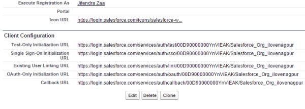 Salesforce Authentication Provider Client Configuration