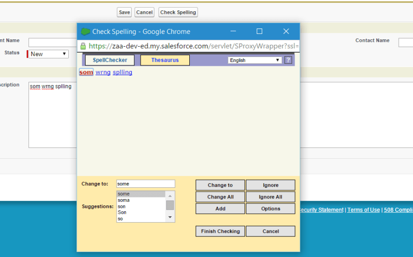 Spell checker in custom Visualforce page