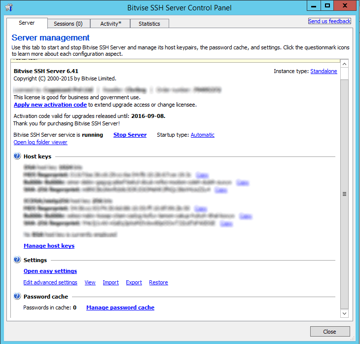 Bitvise SSH Control Panel
